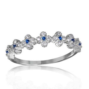 925 silver wedding band bridal Promise Pave Ring